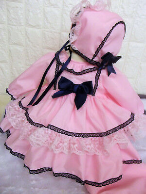 DREAM SPANISH PINK WHITE CAMEL SUMMER  LINED DRESS   0-5  years OR REBORN DOLLS