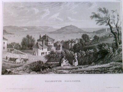 Original Stahlstich / Steel engraved print, Falmouth Harbour - ca. 1850 Stahlsti