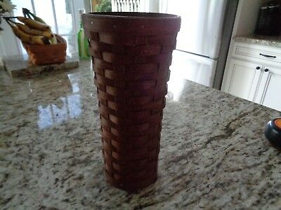 Longaberger   Tall Vase Basket Rich Dark Brown Stain