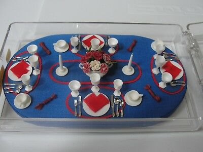 SALE: Dollhouse Miniature Red-White & Blue Table Setting  MIC  Artist Piece