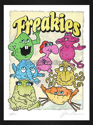 "9""x12"" Freakies Retro Cereal Mascot Characters Limited Edition Giclée Art Print"