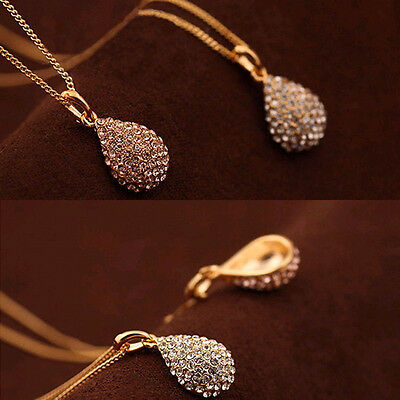 Women Fashion Gold Silver Statement Plated Crystal Pendant Long Chain Necklace