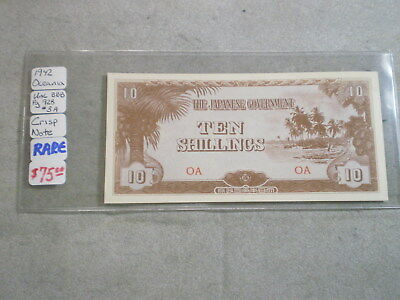 1942 10 Shillings Japanese Occupation Note Oceania/ Rare