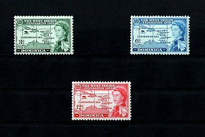 Dominica - 1958 - Qe Ii - West Indies Federation - Map + 3 X Mint - Mnh Set!