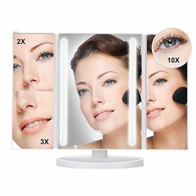 "Large 13X9"" Tri-Fold Lighted Vanity Makeup Mirror with 36 LED Light"