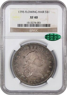 1795 Flowing Hair $1 NGC/CAC XF40 (3 Leaves) Choice XF Type Coin