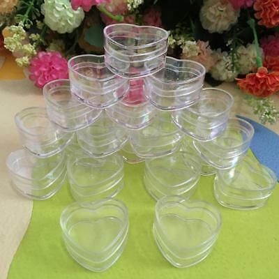 10Pcs Plastic Empty Cosmetic Lip Balm Cream Pot Jar Box Container Heart Shape~