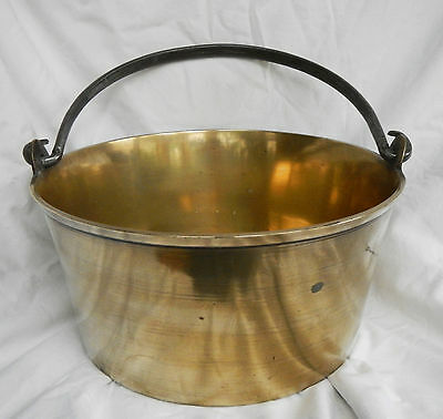 Antique Victorian Brass Preserving Pan with Iron Handle - Extra Large 1880s (D)