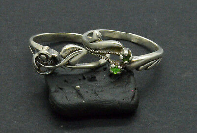 Antiquarian Silver Rings with Chrysolite gemstone. 20 Century