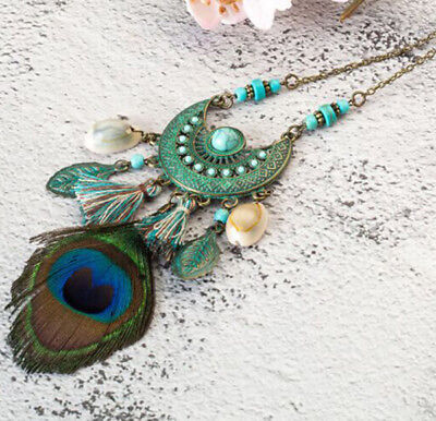 Vintage Womens Boho Peacock Feather Pendant Long Chain Necklace Tassel Jewelry