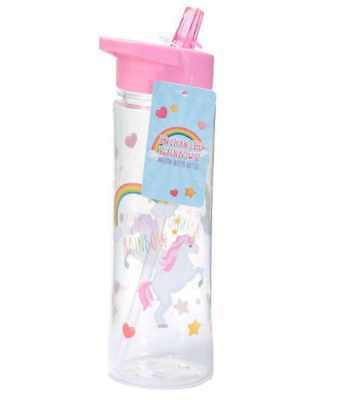 Enchanted Unicorn 500Ml Plastic Water Sports Drinks Lunch Bottle With Straw