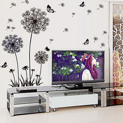Dandelion Removable Vinyl Decals Fly Wall Stickers Art Mural Home Room Decor AU
