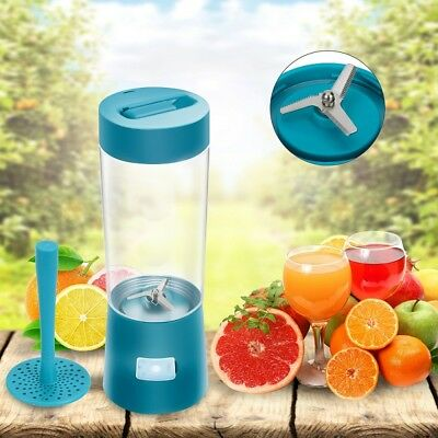 Turquoise Portable Rechargeable USB Blender,Mini Cup Fruit Juicer Smoothie Maker