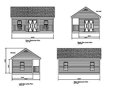 SHED PLANS 24'X16 BLUEPRINTS SHED 16'x24' GABLE FRONT PORCH #17-1624GBLFP-1