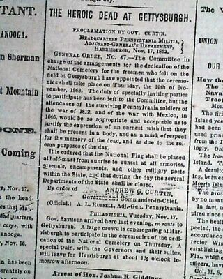 GETTYSBURG ADDRESS (eve) Battlefield Ceremony Close 1863 Civil War NYC Newspaper