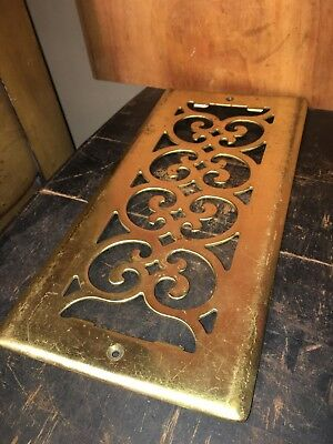 Vintage Decorative Brass Vent Floor Grate Floor Register Victorian #2