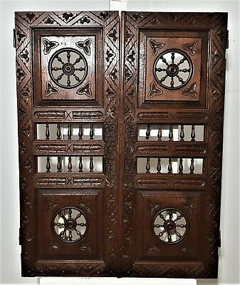 BRITANY CABINET DOOR Pair Antique french carved wood architectural salvage panel