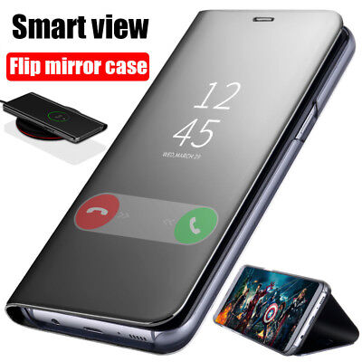 Luxury Clear View Mirror Flip Leather Smart Case Slim Cover For Samsung Galaxy