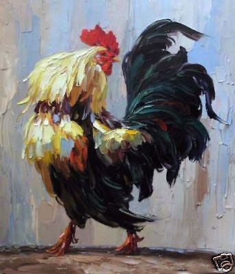 LMOP94 huge 100% hand-painted modern ROOSTER OIL PAINTING CANVAS wall ART