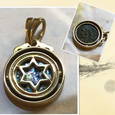 14K Star of David Pendant Swivel Widow's Mite Coin & Roman Ancient Glass SALE