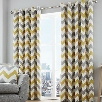 Chevron Ochre & Grey Eyelet Readymade Lined Curtains