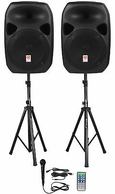 """Rockville (2) 12"""" Powered Speakers+Stands w/Bluetooth For Backyard Movie Theater"""