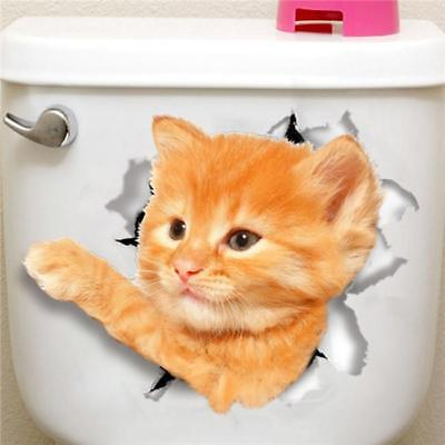 3D Cat Wall Sticker Bathroom Decal Home Bedroom Decor Toilet Mural Vinyl AN