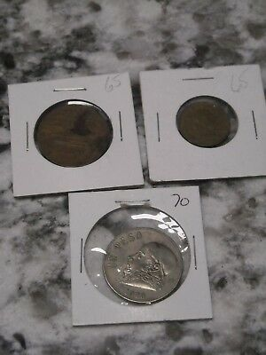 Lot of Mexican Coins 1970 unpeso 1965 20 cent 1965 cinco