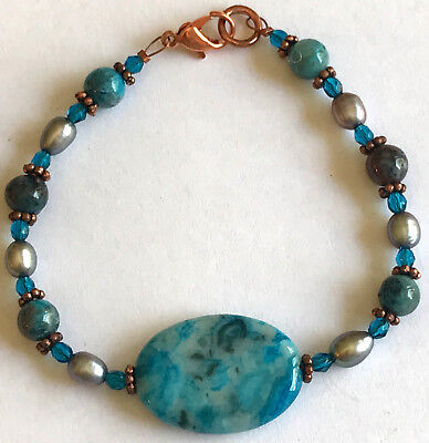 """7"""" Beaded Bracelet w/ Large Oval Blue Stone Simulated Pearls Copper Tone"""