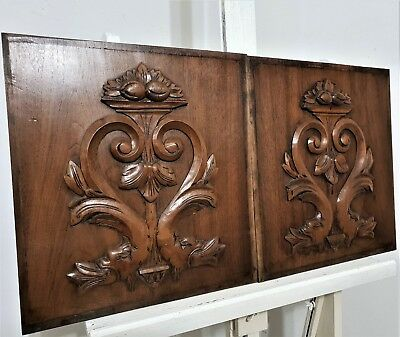 Pair griffin scroll panel leaves antique french carving architectural salvage