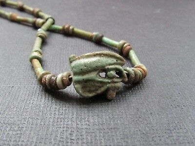 NILE Ancient Egyptian Eyes of Ra Amulet Mummy Bead Necklace ca 1000 BC