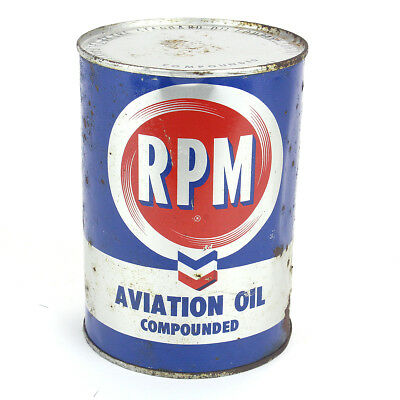 Vintage RPM Aviation Motor Oil Metal Can 1940's