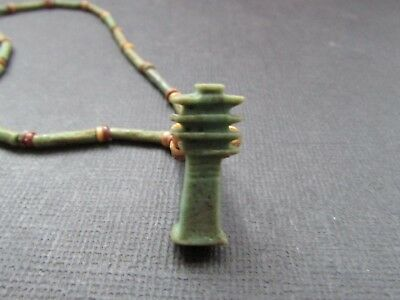 NILE  Ancient Egyptiian Djed Column Amulet Necklace ca 1000 BC