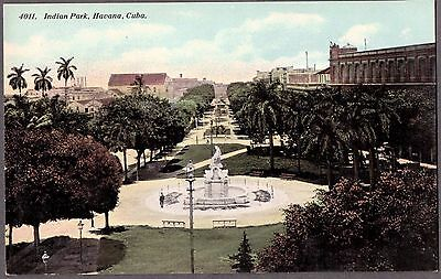 Vintage 1900's View Indian Park Havana Cuba Palm Trees Old Cuban Litho Postcard