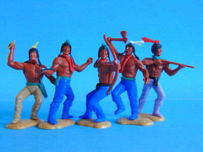 Five vintage TIMPO TOYS Wild West Indian figures. MADE IN GT. BRITAIN