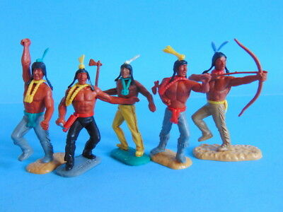 Five various vintage TIMPO TOYS Wild West Indian figures. MADE IN GT. BRITAIN