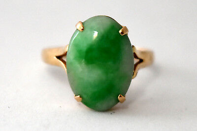 Vintage Chinese 14K Solid Gold and Natural Jade Ring Size 5 3/4