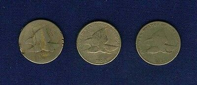 """U.s.  1857 & 1858  """"flying Eagle""""  Small Cent Coins, Group Lot Of (3) Coins"""