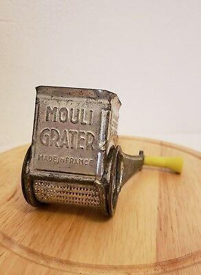 Vintage Mouli Cheese Grater Made in France, Hand Held Rotary with Yellow Handle