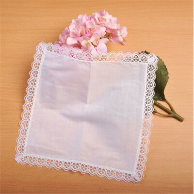 12pcs/set White Soft Plain Cotton Handkerchief Washable Reusable Unisex Z