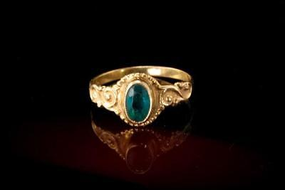Antique Victorian Ruby 10K  Gold Green Paste Baby Band Ring  A808-04