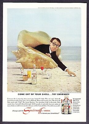 1966 Woody Allen in Seashell on Beach photo Smirnoff Vodka vintage print ad