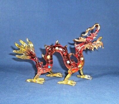 """Hand Spun Glass DRAGON Jeweled and Nicely Gold Trimmed 8 1/4"""" x 3 1/2"""" x 5 1/2"""""""