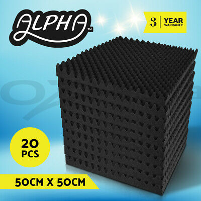 20pcs Studio Acoustic Foam Sound Absorption Proofing Panels Eggshell 50x50CM