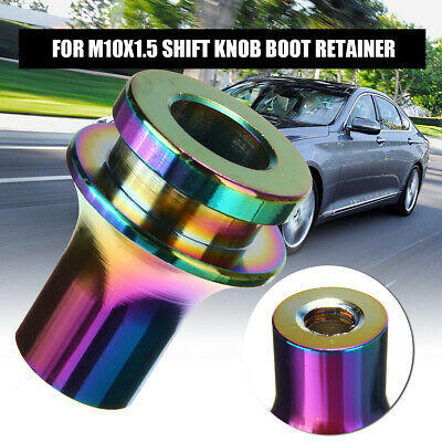 NEO CHROME SHIFT KNOB BOOT RETAINER//ADAPTER FOR MANUAL GEAR SHIFTER LEVER 8X1.25