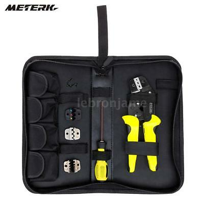 Professional Ratchet Terminal Crimper Wire Cord Crimping Pliers Tool Kit 4 Dies