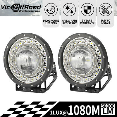 2x9inch LED Spotlights Driving Lights CREE SPOT Offroad 4x4 4WD Round  With DRL