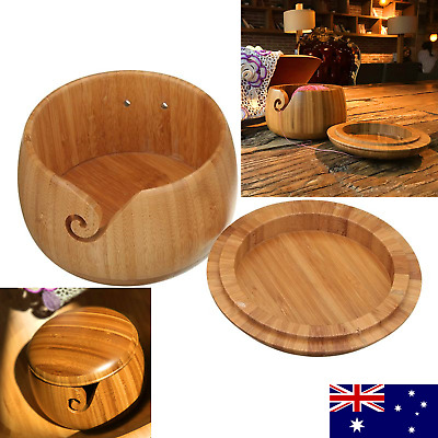 Wooden Bamboo Yarn Bowl Holder With Lid For Yarn Skeins Knitting Crochet Home AU