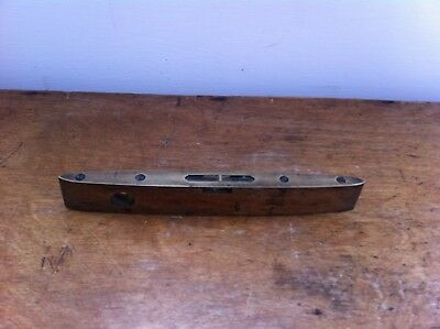 DECORATIVE VINTAGE WOOD & BRASS J.S.& S GOVERNOR SPIRIT LEVEL 8 inches