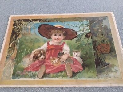 old Antique Woolson Spice Co Lion Coffee Victorian Trade Card  little girl &pets